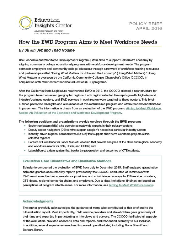 How the EWD Program Aims to Meet Workforce Needs