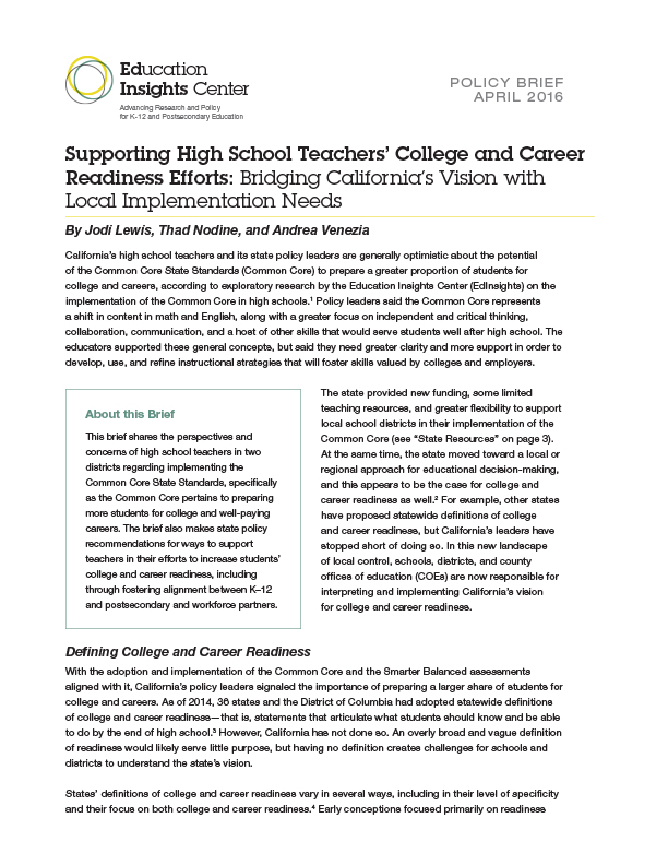 Supporting High School Teachers' College and Career Readiness Efforts: Bridging California's Vision with Local Implementation Needs