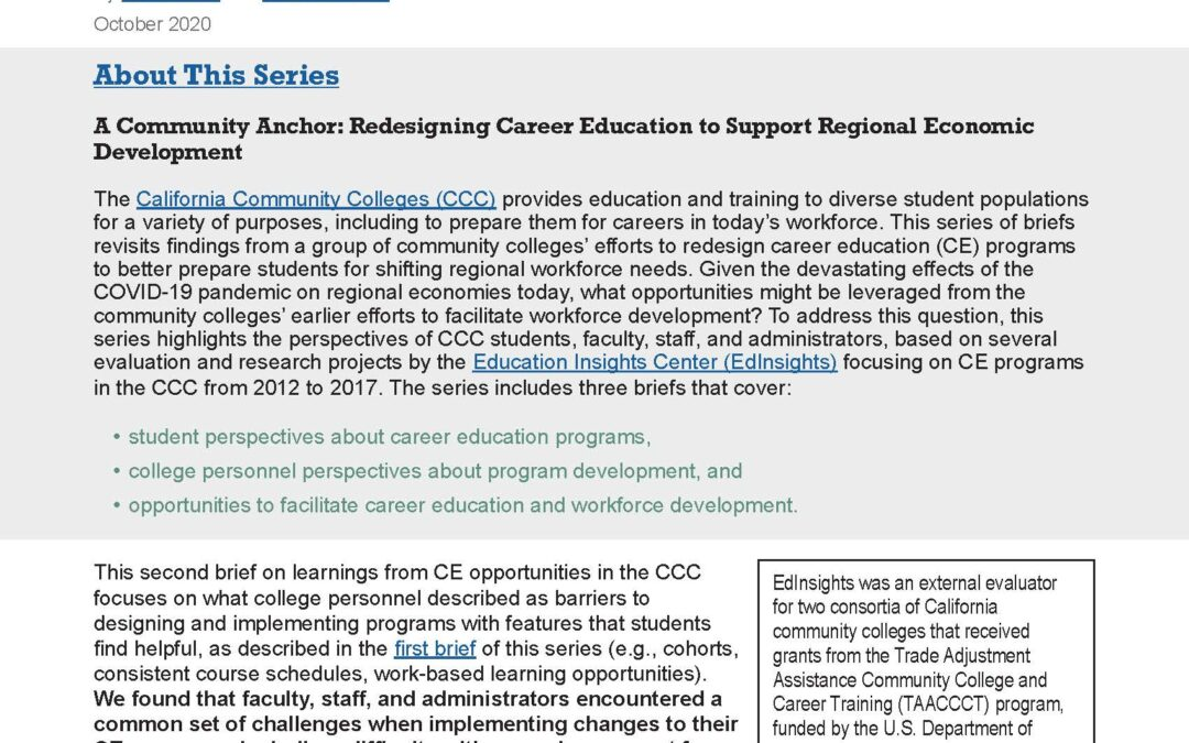 A Community Anchor: College Personnel Perspectives about Developing and Implementing Career Education Programs