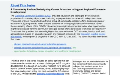 A Community Anchor: A Review of Career Education Policy Barriers and Solutions
